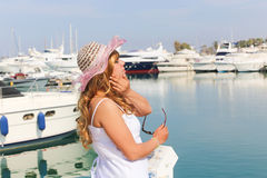 Beautiful Woman with yachts Royalty Free Stock Photography