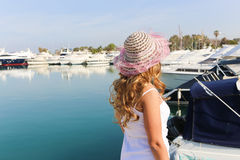 Beautiful Woman with yachts Stock Photography