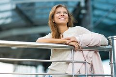 Woman 30 years old walking in the city on a sunny day royalty free stock photos
