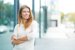 Woman 30 years old walking in the city on a sunny day stock image