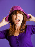 Beautiful woman yelling Stock Photography