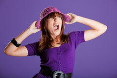 Beautiful woman yelling Royalty Free Stock Images