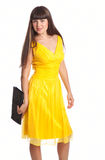 Beautiful woman in yellow dress. Beautiful woman in  yellow dress with bags. Isolated on white background Stock Images