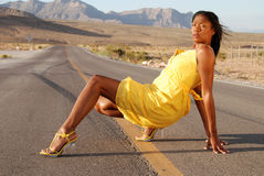 Beautiful woman in yellow dress. Royalty Free Stock Photo