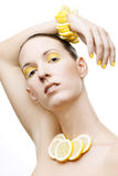 Beautiful woman with yellow eyeshadow Royalty Free Stock Photos