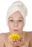 beautiful woman with yellow flower Royalty Free Stock Photos