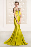 Beautiful woman in a yellow long dress Royalty Free Stock Photography