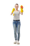Beautiful woman in yellow rubber gloves over white Royalty Free Stock Photos