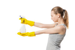 Beautiful woman in yellow rubber gloves over white Stock Image