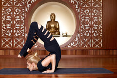 Beautiful woman yoga pilates gymnastics meditation Buddha Royalty Free Stock Photography