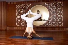 Beautiful woman yoga pilates gymnastics meditation Buddha Royalty Free Stock Image