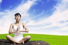 Beautiful woman in yoga position Royalty Free Stock Photography