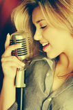 Beautiful Womaning Singing royalty free stock photo