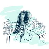 Beautiful womans neck with city viev hand drawn Stock Photo