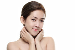 Beautiful women asian happy smiling with good healthy of skin your face  on white background Royalty Free Stock Images