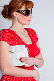 The beautiful women with a bag under Stock Photography