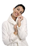 Beautiful women in bathrobe Stock Image