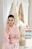 Beautiful women in bathrobe Royalty Free Stock Photography