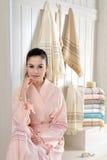 Beautiful women in bathrobe Royalty Free Stock Photography