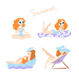 Beautiful women on the beach. Collection. Girls in swimming suits  on white background. Vector illustration eps 10 Royalty Free Stock Images