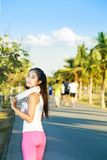 Beautiful women. Beautiful woman are exercising at the park stock photo