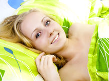 Beautiful women in bed. Royalty Free Stock Photo