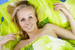 Beautiful women in bed. Stock Photo