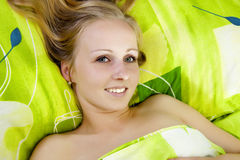 Beautiful women in bed. Royalty Free Stock Image