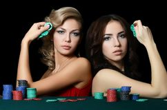 The beautiful woman with casino chips Royalty Free Stock Images