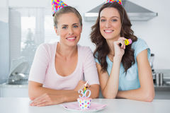 Beautiful women celebrating birthday Royalty Free Stock Photos