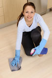 Beautiful women cleaning the house stock photo