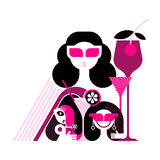 Beautiful Women on the Cocktail Party. Vector illustration  on a white background Stock Images