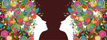 Beautiful women colorful abstract hair banner Royalty Free Stock Images