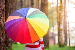 Beautiful women with colorful umbrella standing in autumn park a Royalty Free Stock Images