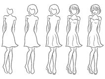 Beautiful women contour in drawing sequence Royalty Free Stock Images