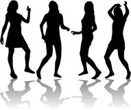 Beautiful women dancing. Silhouettes of sexy beautiful woman dancing Royalty Free Stock Photography