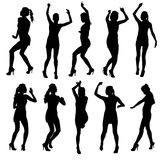 Beautiful women dancing silhouette isolated. Royalty Free Stock Image
