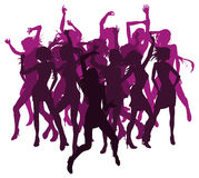Sexy women dancing silhouettes. Group of sexy women dancing in silhouette Royalty Free Stock Images
