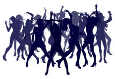 Beautiful women dancing silhouettes. Group of sexy beautiful women dancing in silhouette Stock Photos