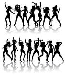 Beautiful women dancing silhouettes. Silhouettes of sexy beautiful women dancing with silhouettes Royalty Free Stock Photos