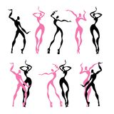 Beautiful women. Dancing silhouettes. Royalty Free Stock Photos