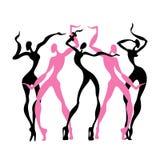 Beautiful women. Dancing silhouettes. Stock Photography
