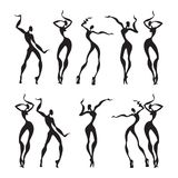Beautiful women. Dancing silhouettes. Stock Images