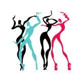 Beautiful women. Dancing silhouettes. Stock Photo