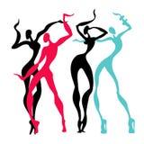 Beautiful women. Dancing silhouettes. Royalty Free Stock Image