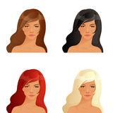 Beautiful women with different hair colors Stock Photo