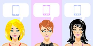 Beautiful women with different hairstyles Royalty Free Stock Photo