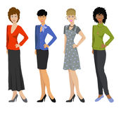 Beautiful women in different outfits, flat icons on white background. Vector illustration Royalty Free Stock Photography