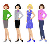 Beautiful women in different outfits, flat icons on white background. Vector illustration Royalty Free Stock Photo