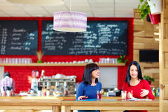 Beautiful women discussing business in relaxed atmosphere. Two beautiful women discussing business in relaxed atmosphere Stock Image